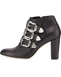 Manolo Blahnik Zavattini Triplebuckle Ankle Boot - Lyst