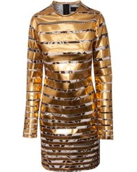 Ktz Metallic Gold Stripe Bodycon Dress - Lyst