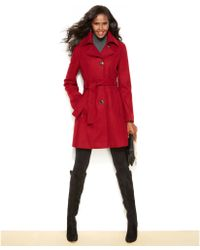 Kenneth Cole Reaction Petite Belted Wool-blend Coat - Lyst
