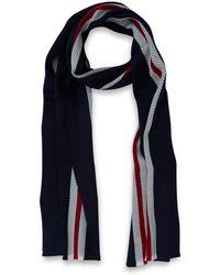John Smedley - Navy Stripe Merino Wool Scarf - Lyst