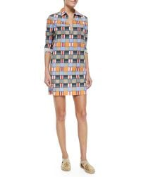 Tory Burch Long-Sleeved Geometric-Print Tunic - Lyst