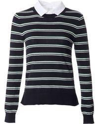 Veronica Beard Striped Shirt Sweater - Lyst
