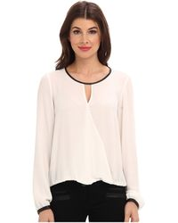 Adrianna Papell Ls Draped Blouse With Slight V-Neck and Gathered Cuff - Lyst