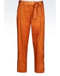 Emporio Armani | Stretch Cotton Trousers | Lyst