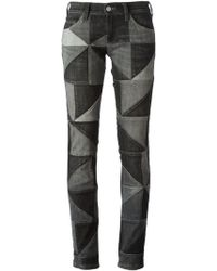 Etoile Isabel Marant Gray Patchwork Jeans - Lyst