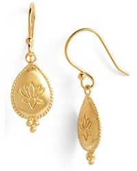 Satya Jewelry - 'lotus Blissful Bloom' Engraved Drop Earrings - Lyst