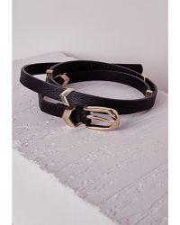 Missguided Metal Chevron Trim Skinny Belt Black - Lyst