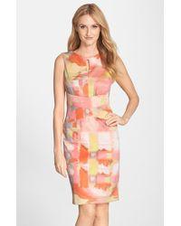 Ellen Tracy Printed Scuba Sheath Dress - Lyst