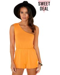 Missguided Toshi Value One Shoulder Playsuit in Nectarine - Lyst