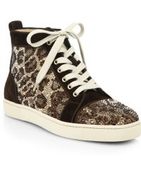 Christian Louboutin Crystal Leopard Pattern Suede High-Top Sneakers brown - Lyst