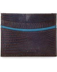 Isaac Mizrahi New York | Brown Lizard Embossed Card Case | Lyst