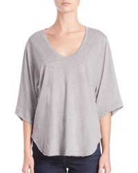 Helmut Lang | Wide Sleeve Cotton & Cashmere Scoopneck Tee | Lyst