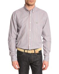 Lacoste Striped Blue Shirt - Lyst