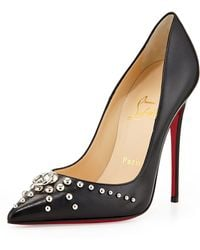 Christian Louboutin Door Knock Leather Red Sole Pump Black - Lyst