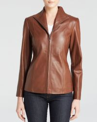 Cole Haan Wing Collar Leather Jacket - Lyst