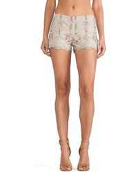 Anna Sui Rose Border Embroidered Shorts - Lyst