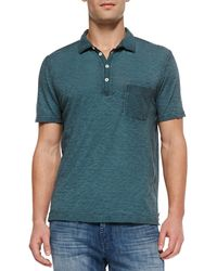 7 For All Mankind Mens Burnout Slub Polo Teal - Lyst