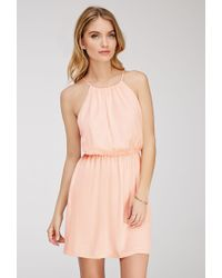 Forever 21 Crinkled Satin Halter Dress - Lyst