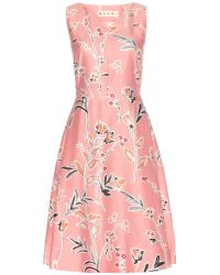 Marni Printed Cotton And Silk-Blend Dress - Lyst