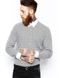 Lambretta - Shirt in Puppytooth with Collar Bar - Lyst