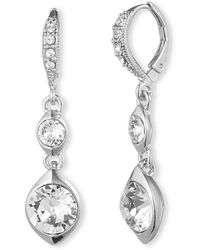 Givenchy Silvertone Swarovski Crystal Double Drop Earrings - Lyst