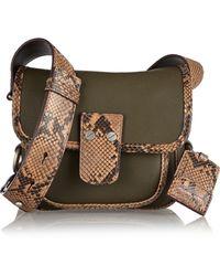 Michael Kors Taylor Small Python-trimmed Leather Shoulder Bag - Lyst