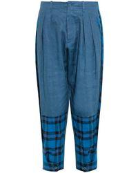Yohji Yamamoto Regulation | Tartan-panel Linen Trousers | Lyst