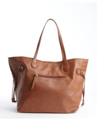 Big Buddha Cognac Vegan Leather Cabana Woven Detail Tote - Lyst