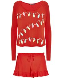 Wildfox Glowing Lights Thermal Top and Shorts Set - Lyst