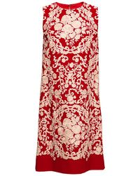 Dolce & Gabbana Cady Embroidered Sleeveless Shift Dress - Lyst