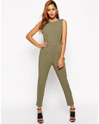 Asos Jumpsuit With Open Back And Pleated Detail - Lyst