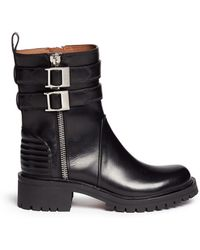 Givenchy Double Buckle Strap Leather Combat Boots - Lyst
