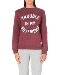 A Question Of - Trouble Is My Boyfriend Sweatshirt Bordeaux Melange - Lyst