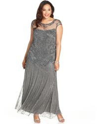 Pisarro Nights Plus Size Illusion Embellished Gown - Lyst