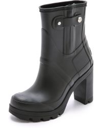 Hunter Original High Heel Booties - Black - Lyst