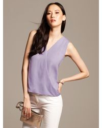 Banana Republic Draped Faux Wrap Top Warm Violet - Lyst