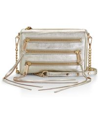 Rebecca Minkoff Mini 5-Zip Crossbody gold - Lyst