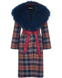 House of Holland - Oversized Fur Collar Tartan Coat - Lyst