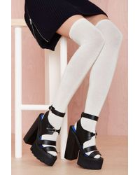 Nasty Gal Prepster Thigh Highs Ivory - Lyst