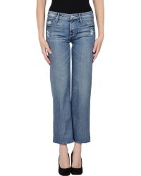 Mother Blue Denim Trousers - Lyst