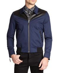 The Kooples Leather-Trimmed Stretch Cotton Jacket - Lyst