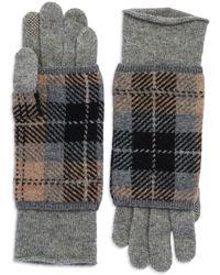 Portolano Plaid Layered Gloves gray - Lyst