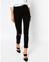 Asos Ankle Grazer Skinny Twill Trousers With Ripped Knees - Lyst