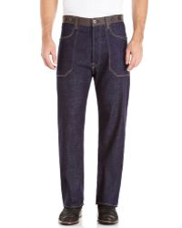 Junya Watanabe Leather Trim Jeans - Lyst