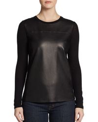Vince Leatherpanel Wool Sweater - Lyst