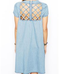Asos Denim Lattice Swing Back Dress - Lyst