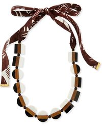 Tory Burch Colorblock Beaded Tie Necklace - Lyst