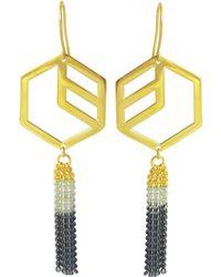 Anna Byers - Hex Tassel Earrings Gold Vermeil - Lyst
