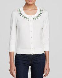 Kate Spade Embellished Cotton Cardigan white - Lyst