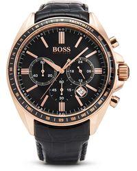 Hugo Boss 1513092 | Chronograph Leather Strap Driver Sport Watch - Lyst